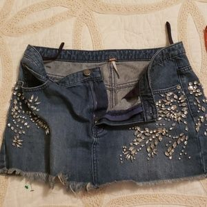 NWOT free people denim and studded skirt size 6